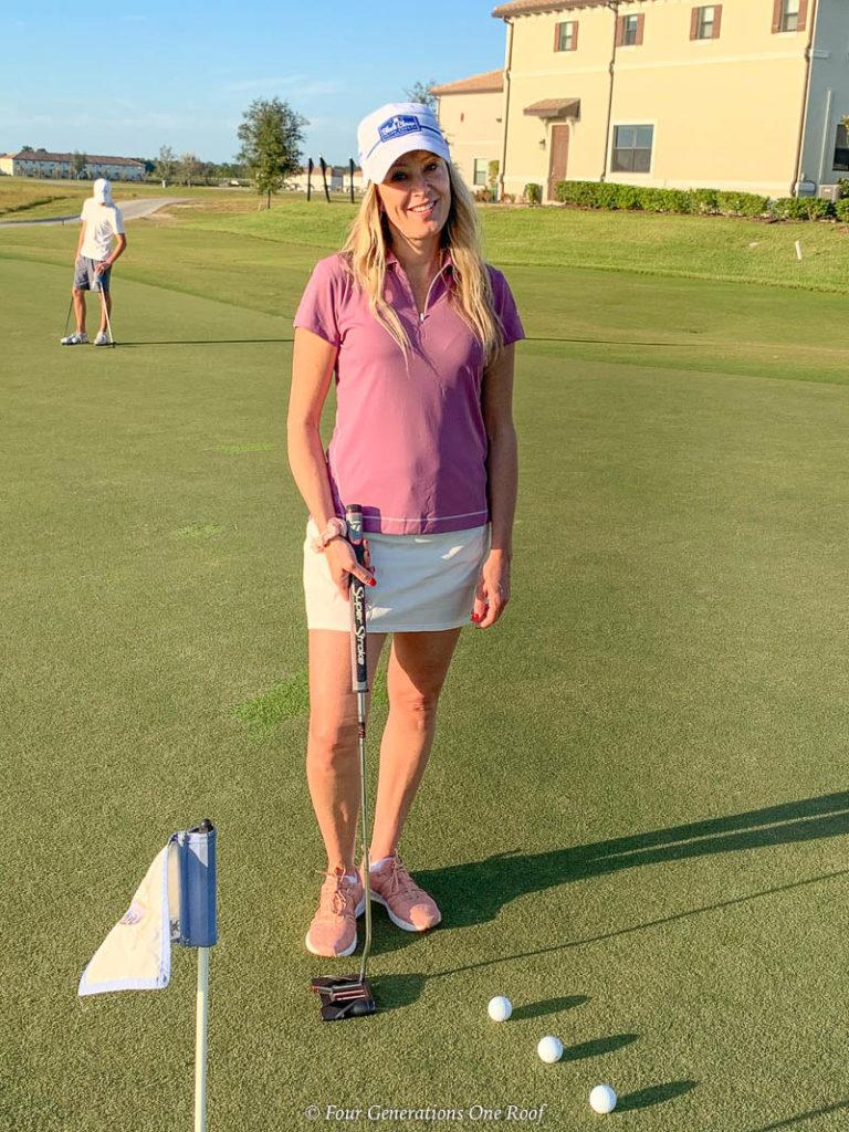 Jessica Bruno Orlando Omni Golf Course Pink Golf Shirt White golf skirt
