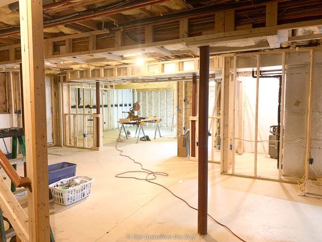 basement 2x4 frame walls and closet