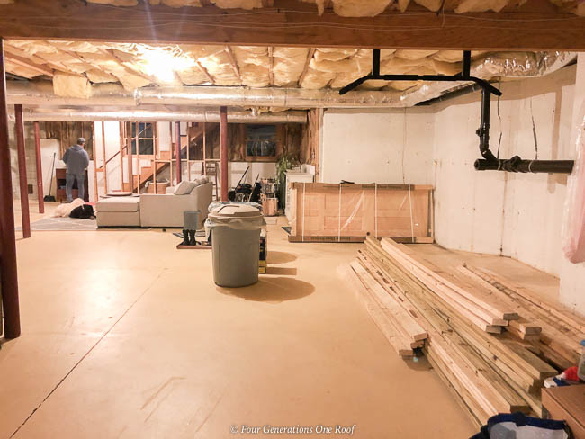 open basement, lally columns, no storage furnace storage area