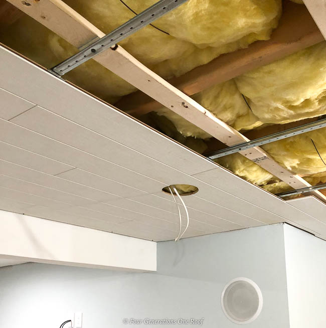 Armstrong Woodhaven Ceiling planks with cut out recessed hole