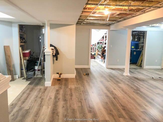 Harvest Oak Rigid Core Vinyl Flooring in basement over cement