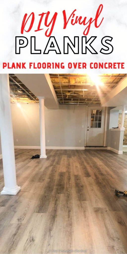 Installing DIY vinyl plank flooring in a basement with lally columns
