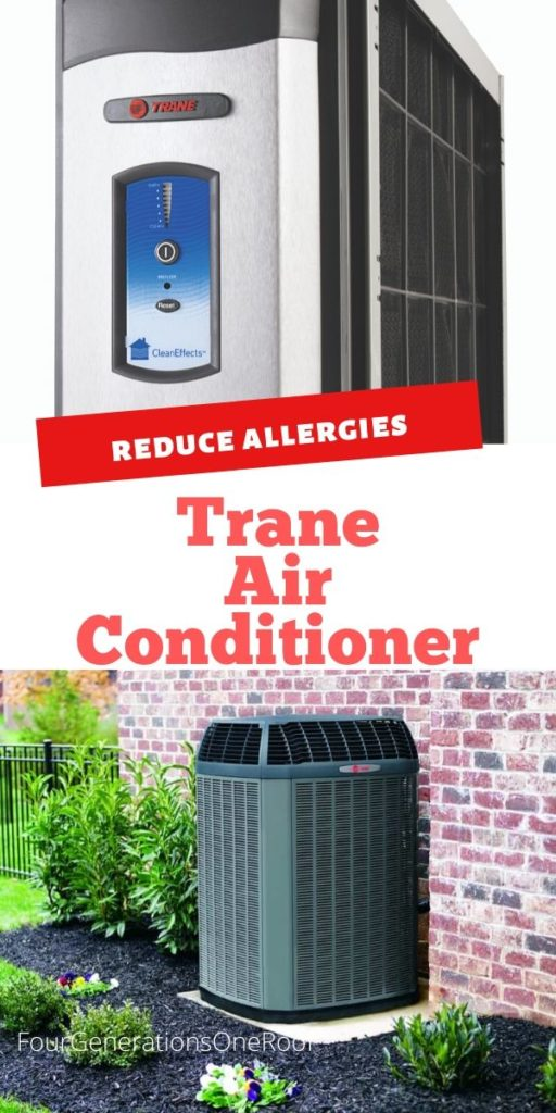 Trane Air Conditioner outside in mulch bed