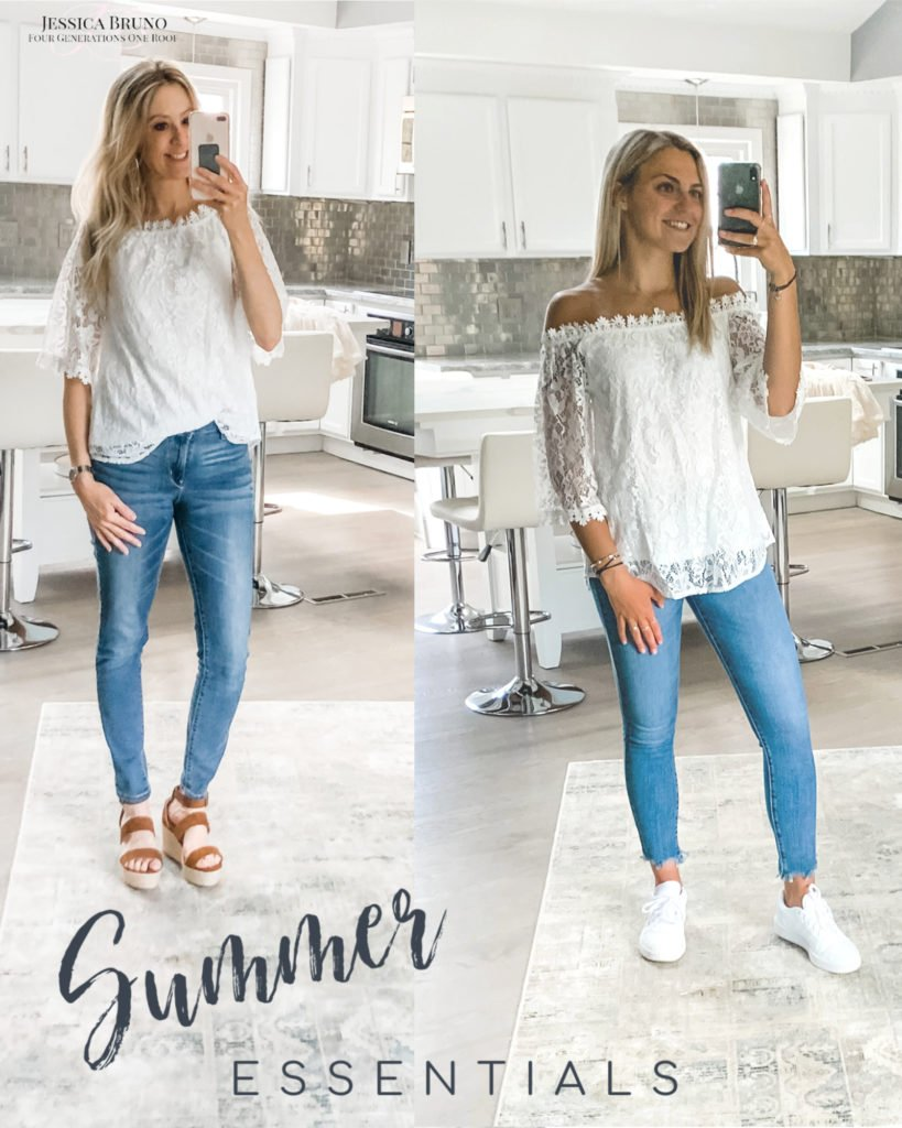 Amazon white flower top and jeans