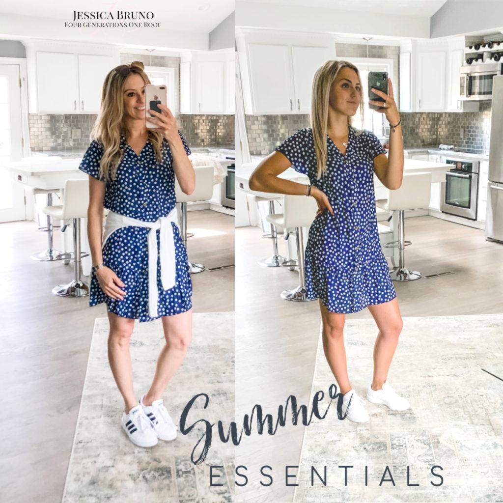 Amazon blue and white babydoll dress