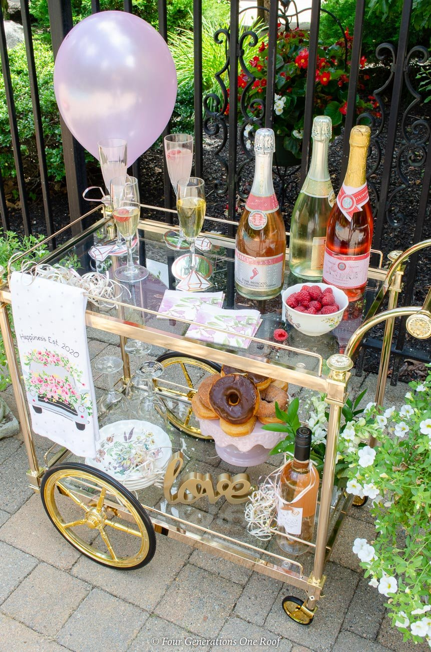 bridal shower bar cart