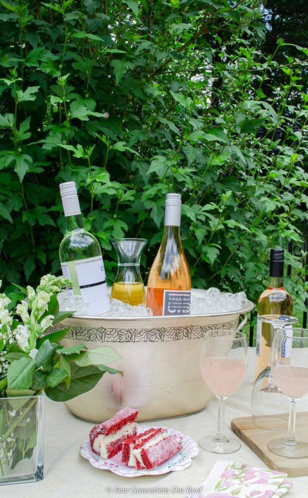 Backyard Bridal Shower Ideas on a budget with large ice tub filled with wine