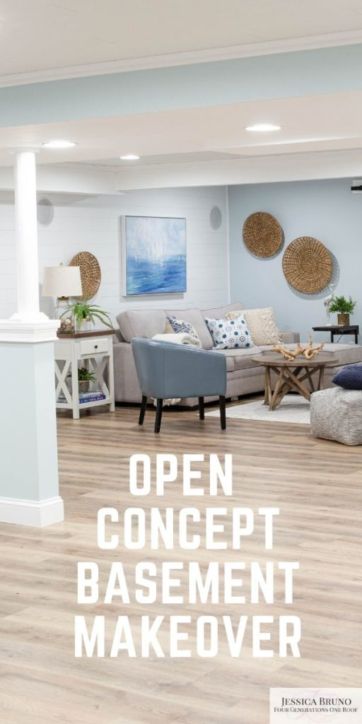 basement makeover with ceiling and vinyl floor planks / Open Basement Makeover with driftwood style Floor and white Ceiling Planks
