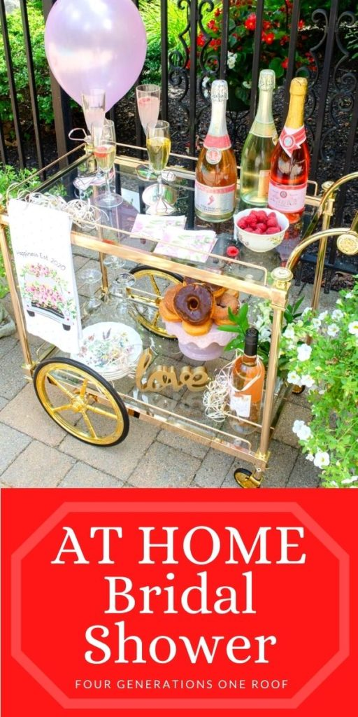 Backyard Bridal Shower Ideas on a budget, gold bar cart with champagne, donut cake