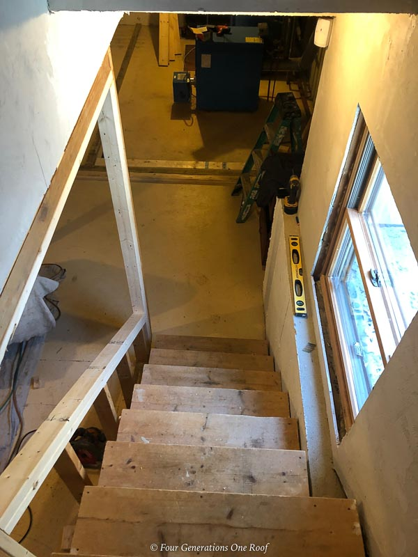 opening up a basement staircase and unfinished basement stairs
