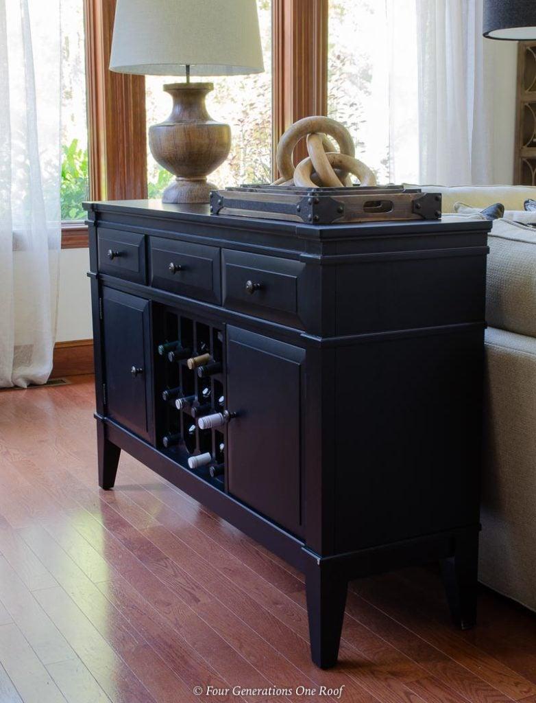 halden black server with wine storage