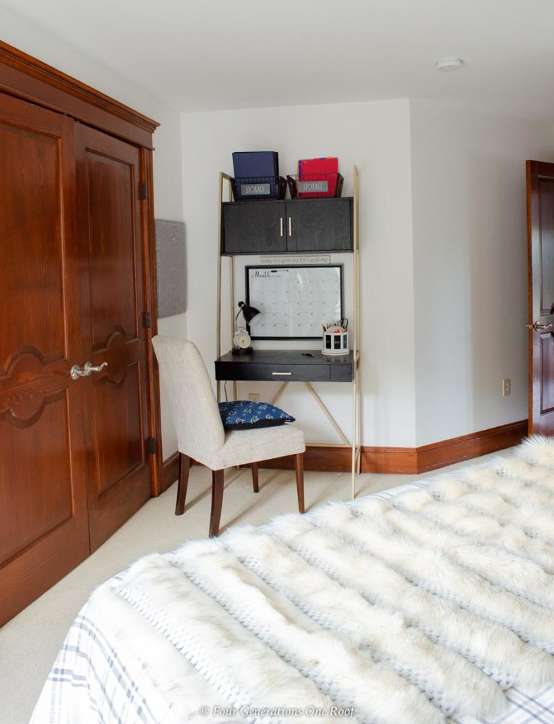 teenager workspace in the bedroom, slim tall desk with storage