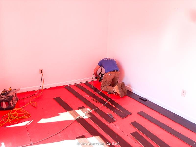 red noise reducer underlayment with java hardwood floor