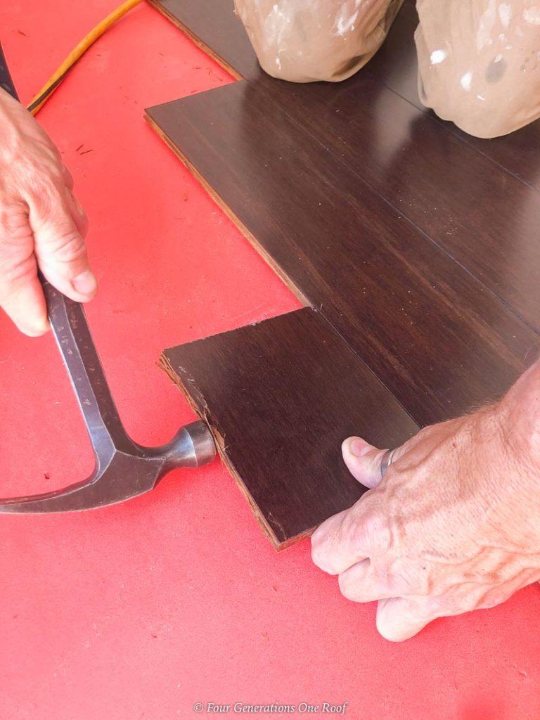 installing engineered hardwood floors with a stapler over FloorMuffler underlayment