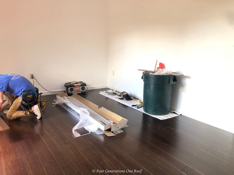 Java engineered hardwood floors in a walk in closet