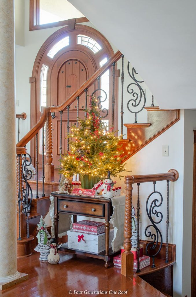 Cozy Christmas staircase nook with country creatures
