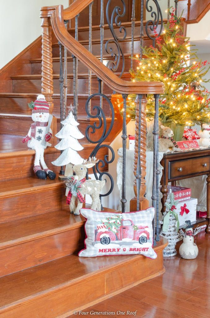 Christmas staircase with trees, reindeer, tree, vintage red truck pillow