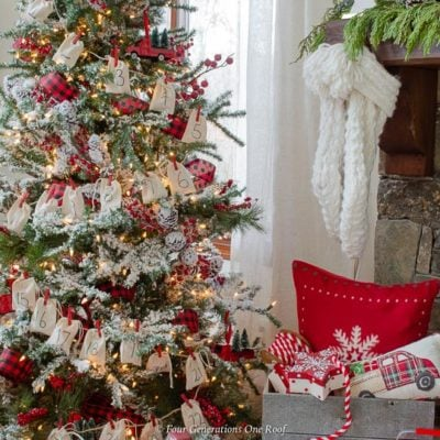 red christmas tree with burlap diy advent calendar garland