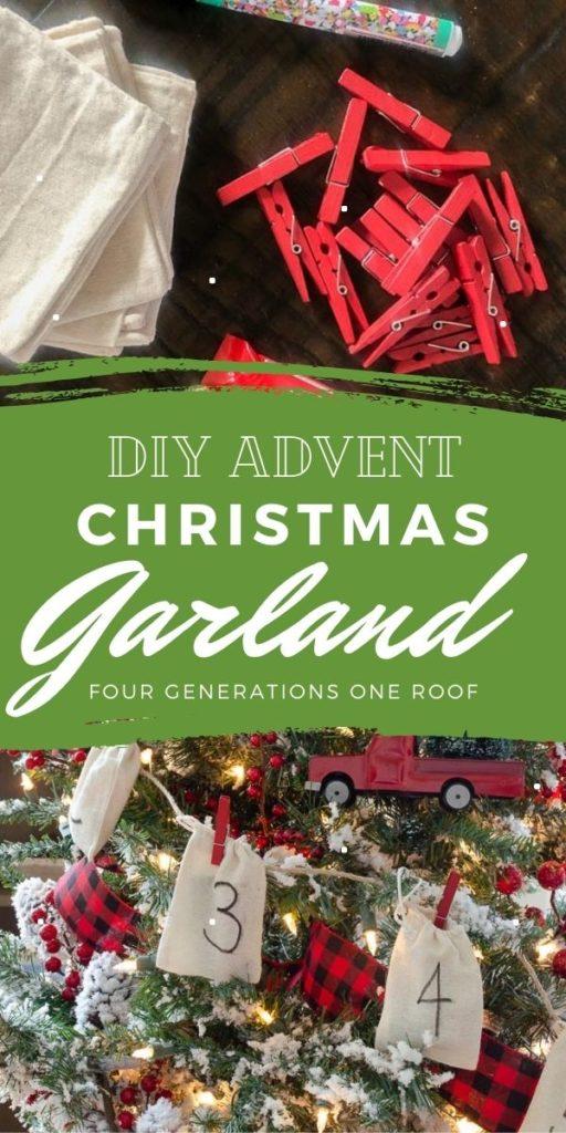 DIY Advent Christmas Garland, burlap satchels, red clothespins