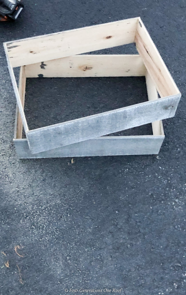 christmas crate pieces glueing together to make a box