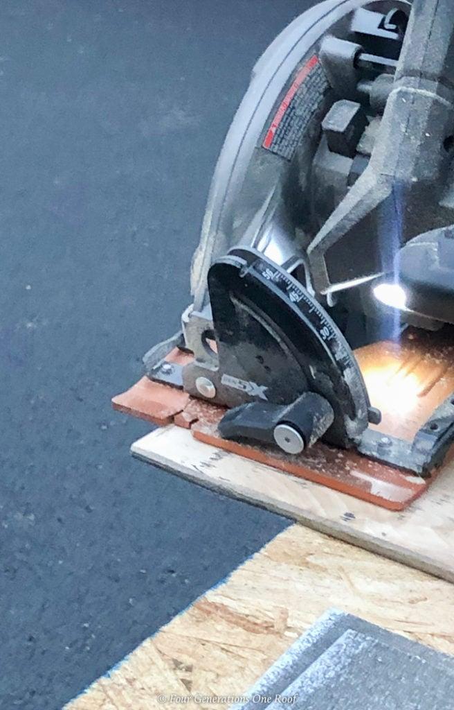 "cutting wood plank 13"" with skill saw"