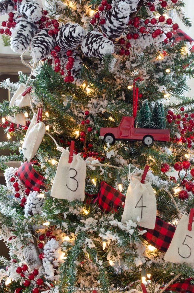 red christmas tree with burlap diy advent calendar garland