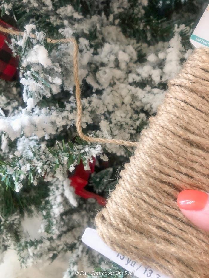 burlap twine on christmas tree as garland