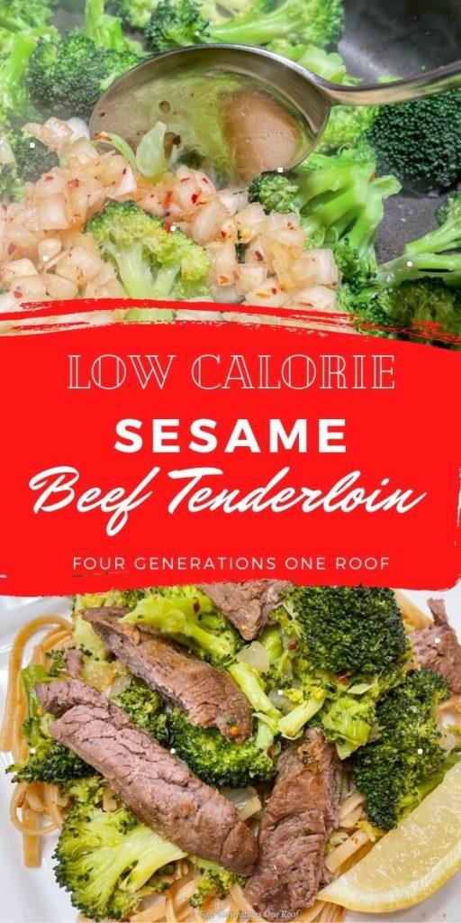Low Calorie Sesame Beef Tenderloin Broccoli Noodles