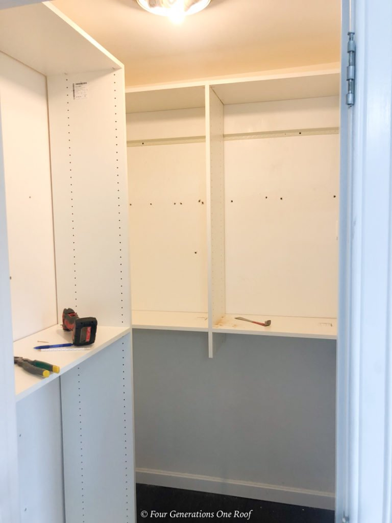 EasyClosets wood shelving and hanging rods