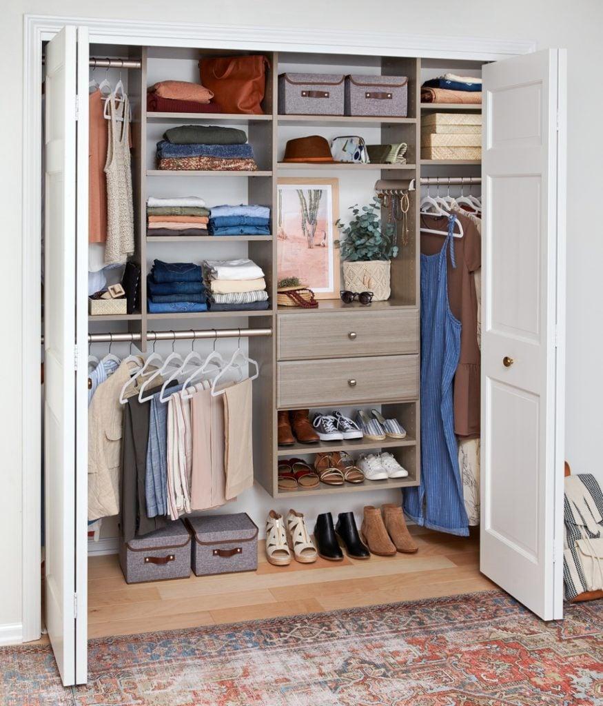 easy closets driftwood reach in closet design