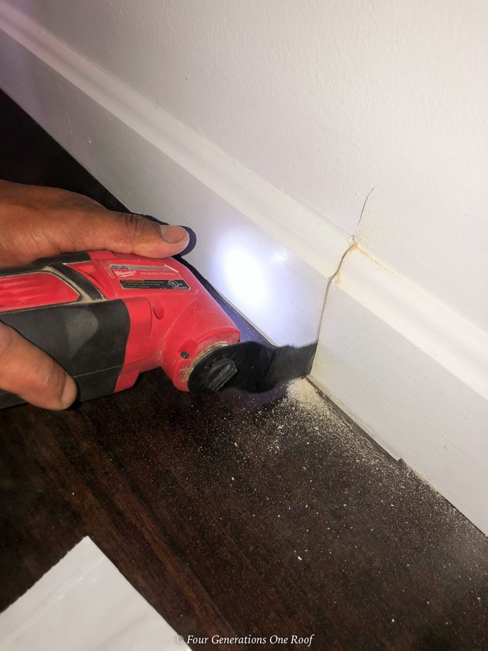 removing baseboard with cutter