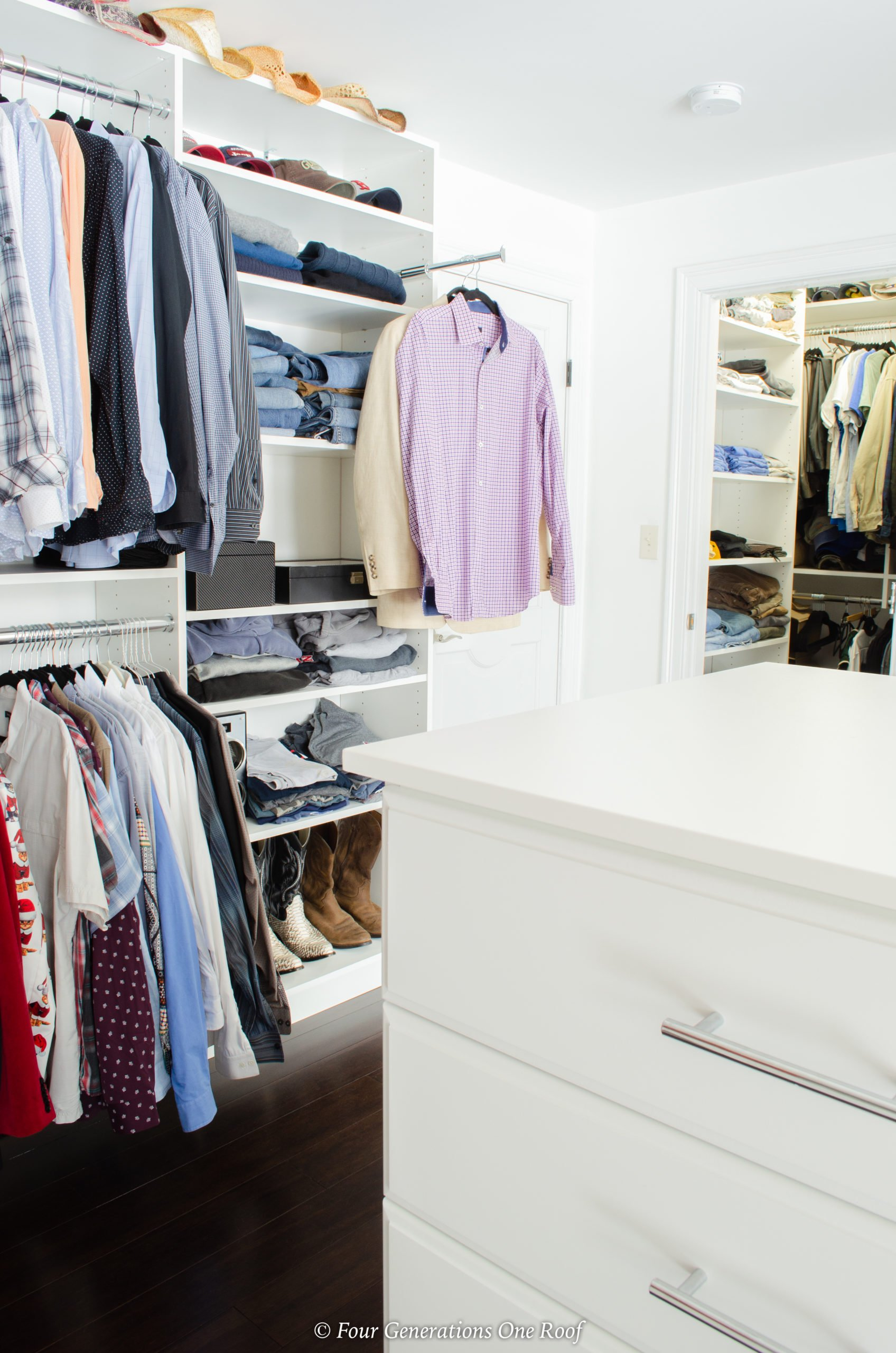 Easyclosets white wood closet system, womans clothing, valet bar, jewelry drawer, pull out ironing board