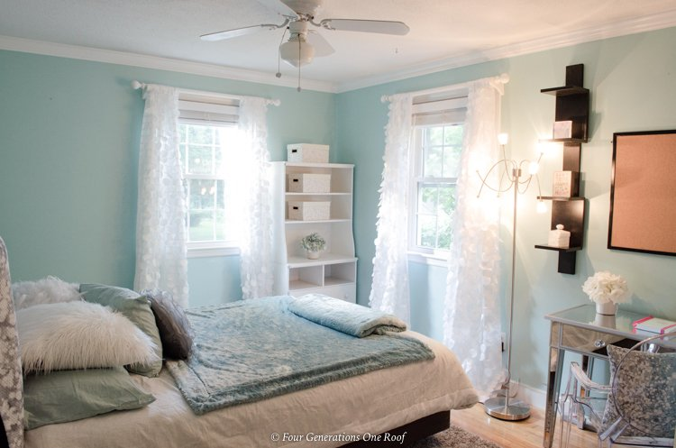 green girls bedroom with ruffle waterfall curtains