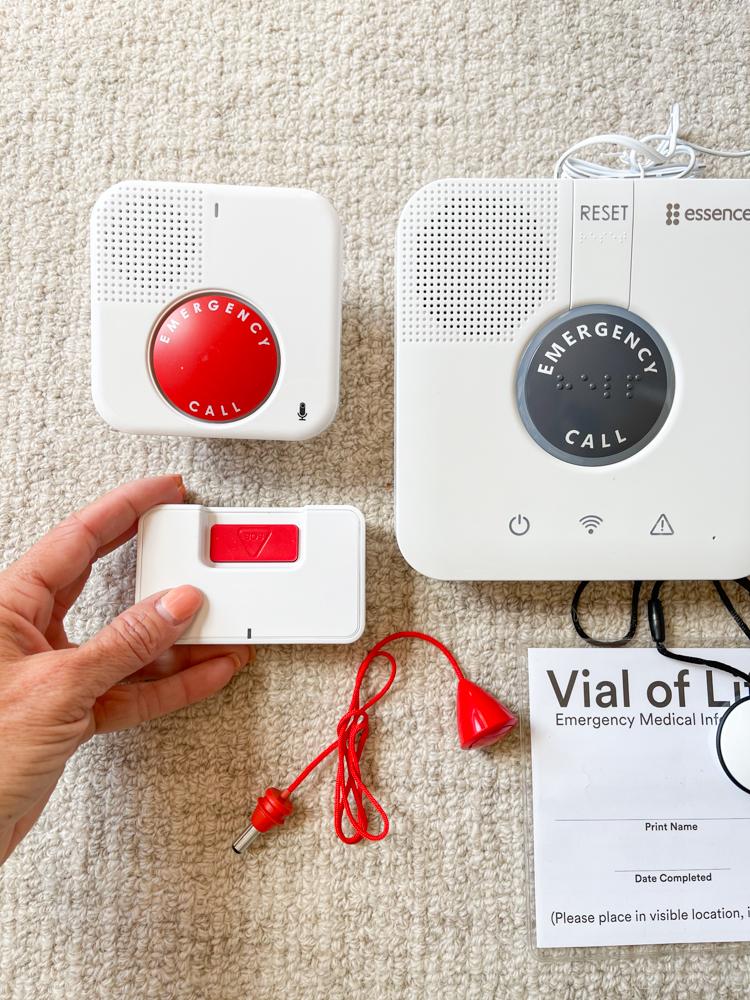 GetSafe base unit, wall unit, necklace pendant, voice wall button
