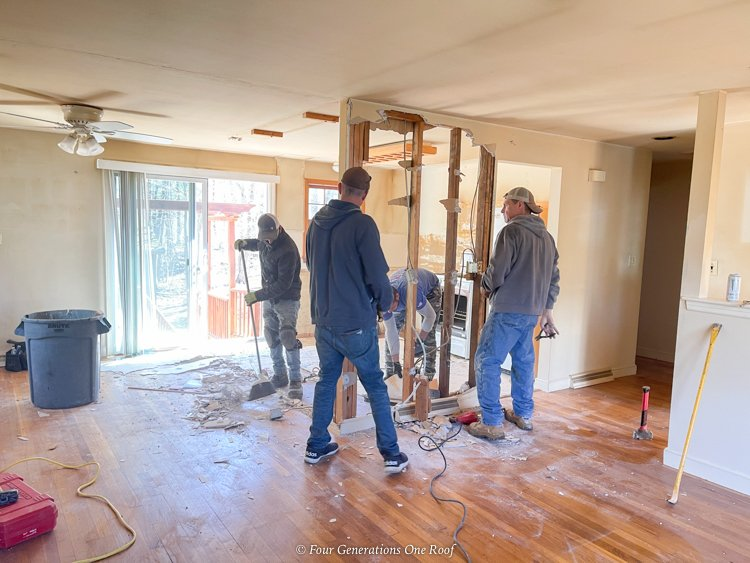 removing kitchen wall to open up into living room split level hardwood floors