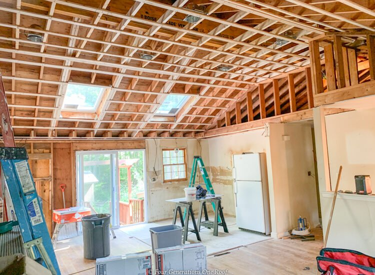 LVL load bearing beam, open ceiling with strapping, cathedral kitchen, living room