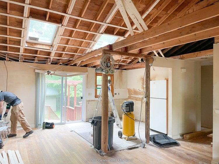 adding a LVL beam to a load bearing wall split level house kitchen
