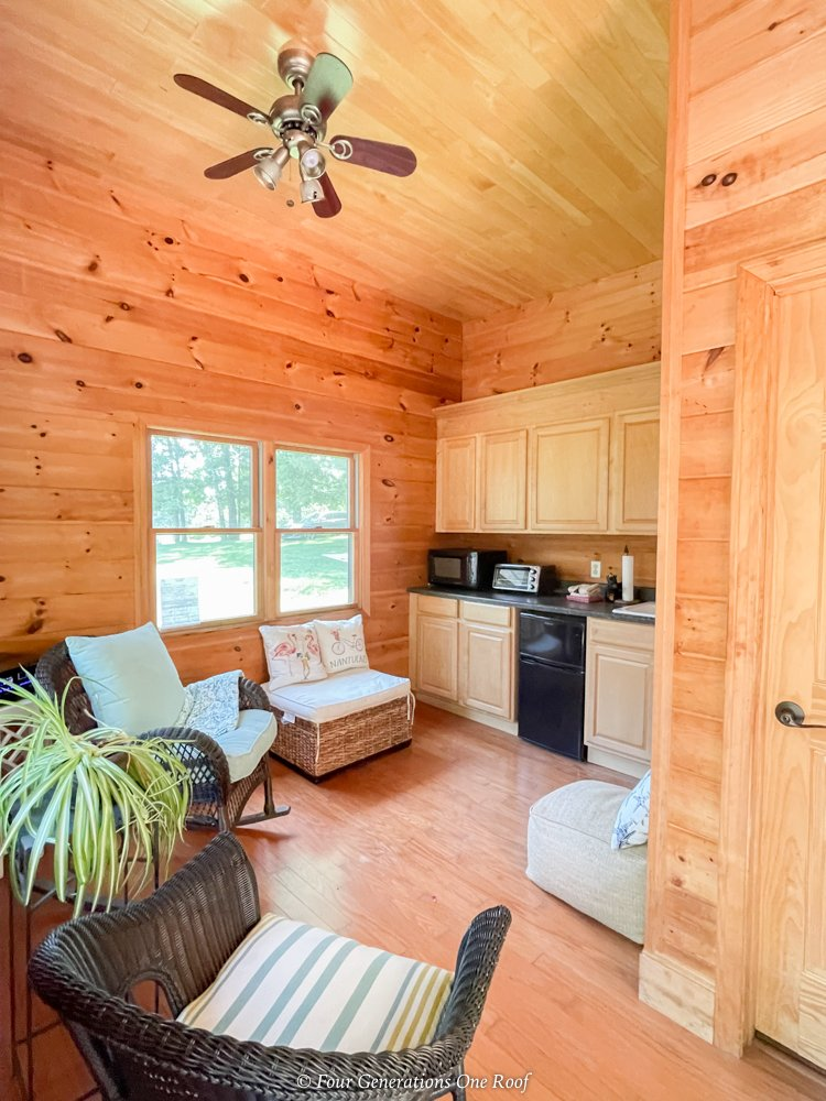 pool house with kitchen and bathroom, pine planks stained light brown