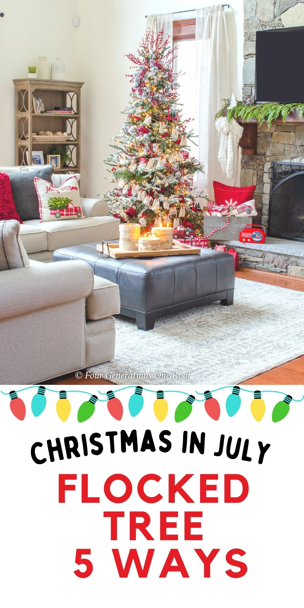 Christmas in July Flocked tree decorated 5 ways - how to decorate a Christmas tree like a professional on a budget