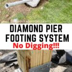 Diamond Pier footing system with 6x6 lumber attached
