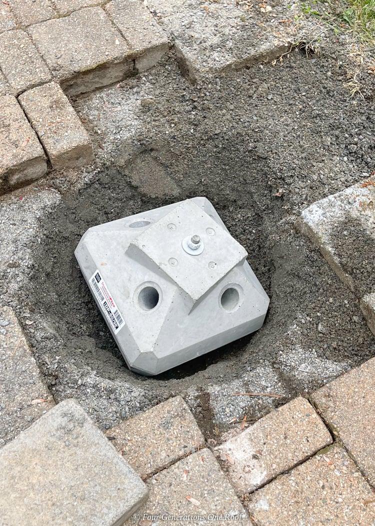 diamond pier cement block footing in ground
