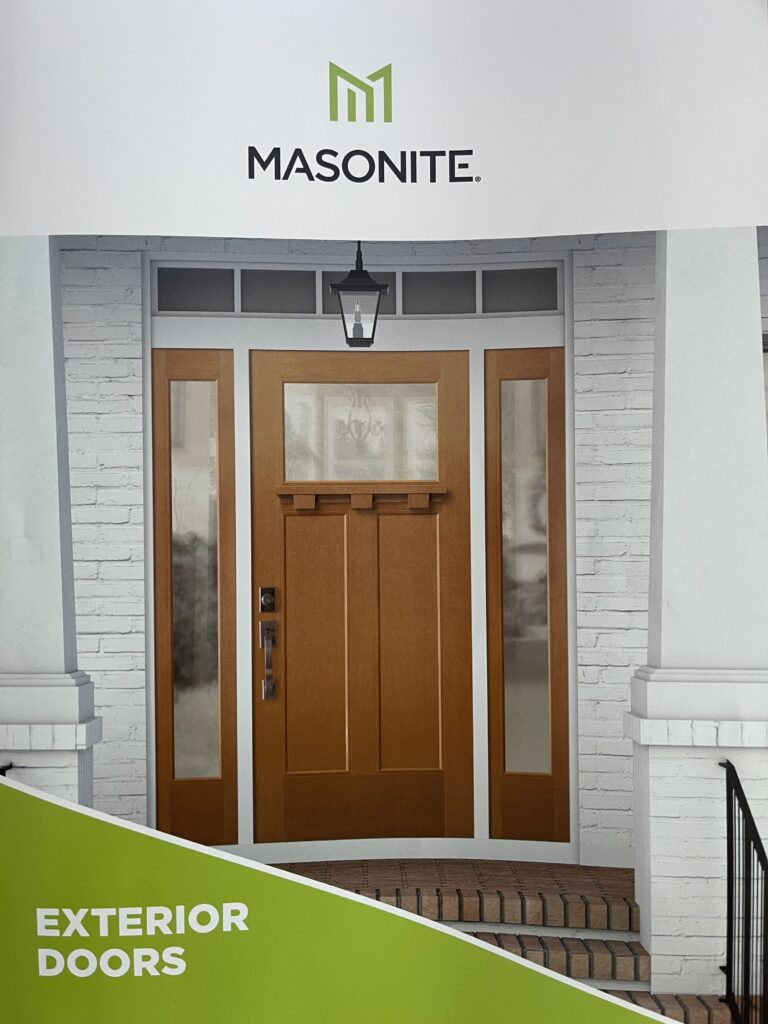 Masonite Heritage Craftsman front door with sidelights and transom