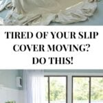 staple slip cover over couch to keep from moving