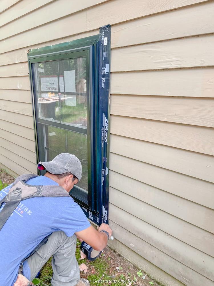 black weatherstrip window tape along black window