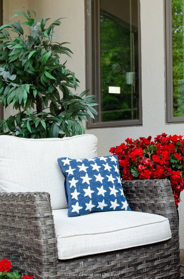 outdoor resin chair flag pillow red geranium