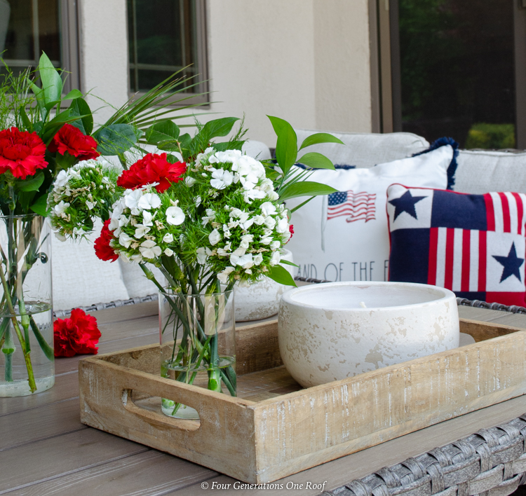 4th of July patio centerpiece wooden tray flowers candle