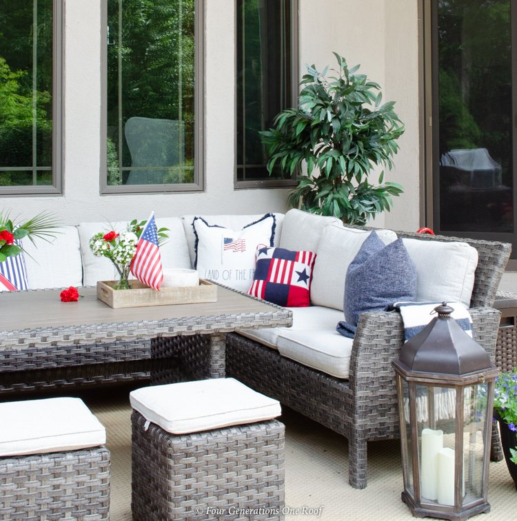 outdoor sectional 4th of July decorations flag pillows, front door and patio 4th of july decorating ideas