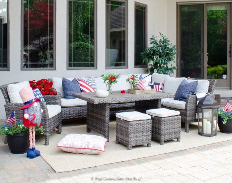 outdoor sectional 4th of July decorations flag pillows