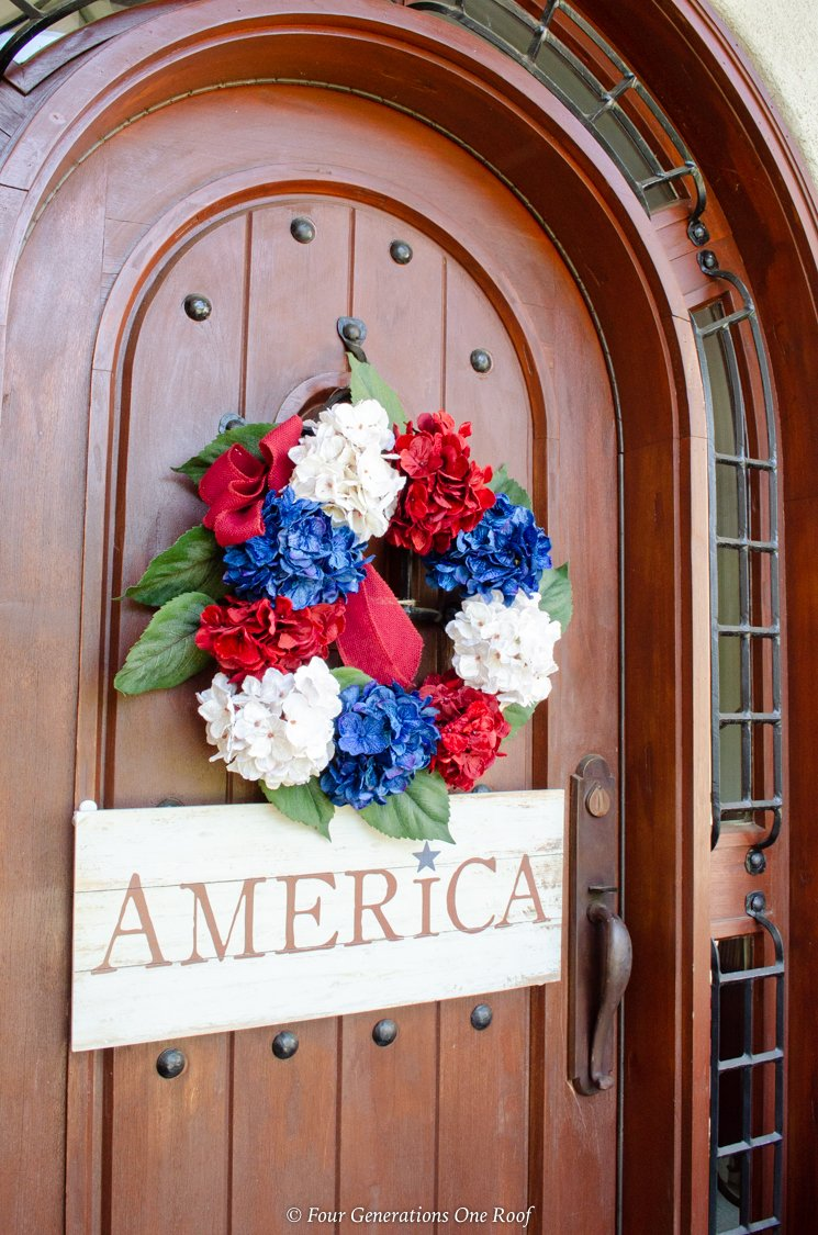 4th of July silk outdoor wreath, America wooden hanging sign