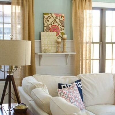 COASTAL FAMILY ROOM MAKEOVER WITH DIY BURLAP CURTAINS